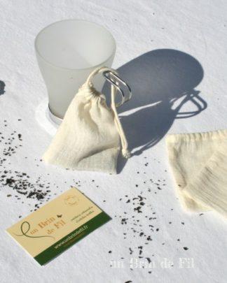 sachet de thé lavable en mousseline de coton bio