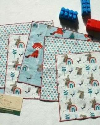 mouchoirs lavables lapins arc-en-ciel