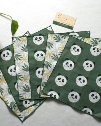 """mouchoirs lavables """"Panda vert"""""""